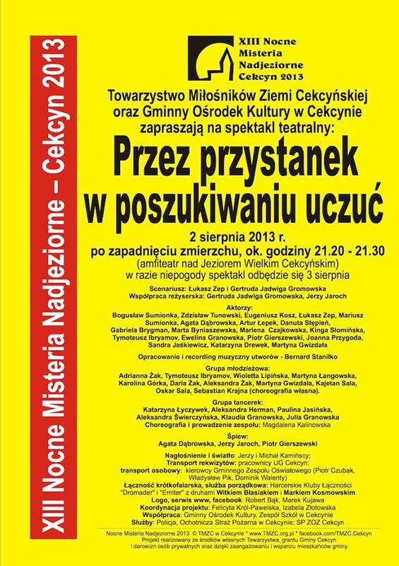 XIII Misteria Nadjeziorne Cekcyn 2013 plakat