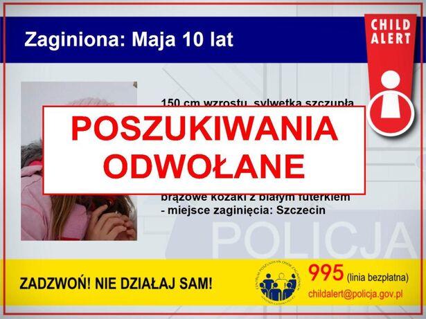 Odnaleziona 10-latka Szczecin Childalert 15.04.2015 (KGP)