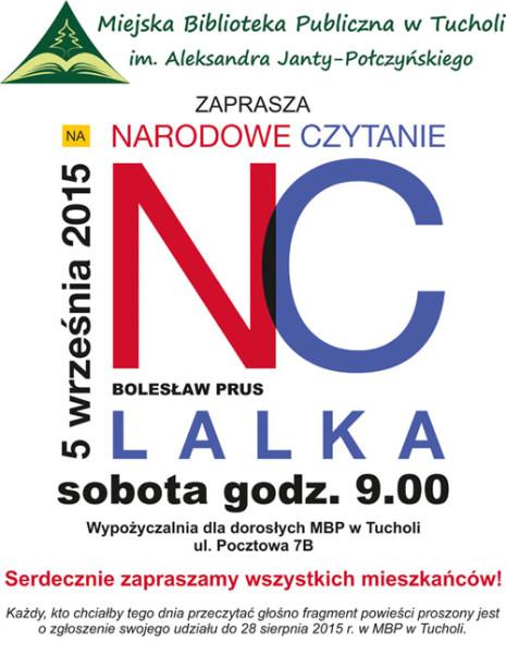 Narodowe czytanie MBP Tuchola 'Lalka' 5.09.2015 plakat